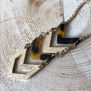 Golden Arrowhead Chevron Long Necklace